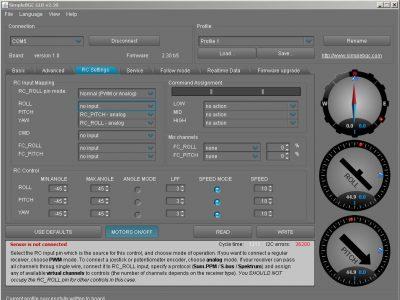 6s joystick GUI Settings