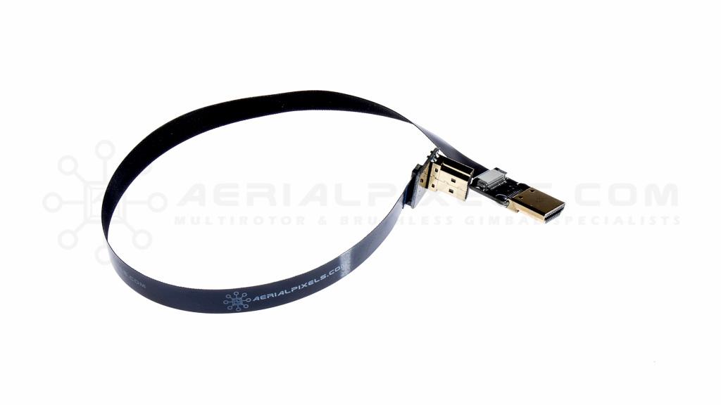 Black Ultra Thin HDMI Right Angle to HDMI Flat Ribbon Cable - 11 ...
