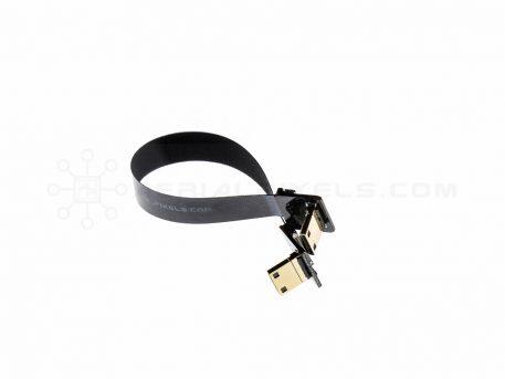 """Ultra Thin HDMI Cable Mini Right Angle to HDMI Mini Right Angle Flat Ribbon Cable - 15CM (5.9"""")"""