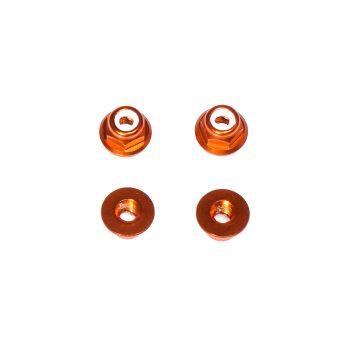 M3 Aluminum Flange Lock Nut - Orange (4pcs)