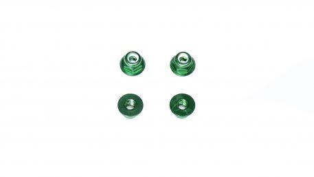 M3 Aluminum Flange Lock Nut - Green (4pcs)