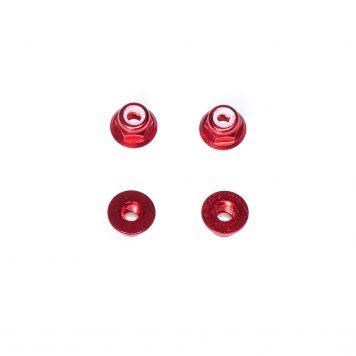 M3 Aluminum Flange Lock Nut - Red (4pcs)