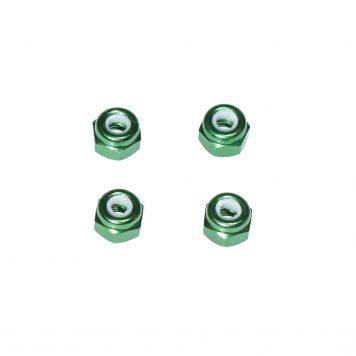 M3 Aluminum Lock Nut - Green (4pcs)