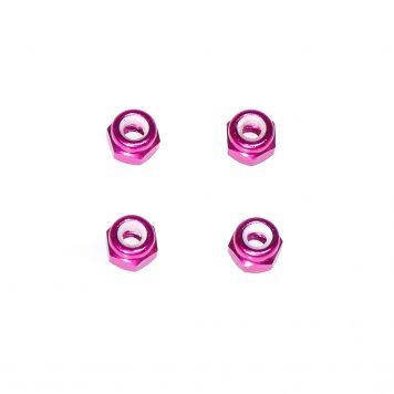 M3 Aluminum Lock Nut - Pink (4pcs)